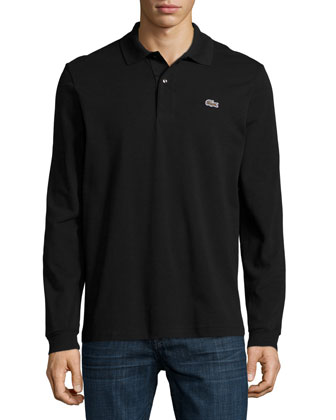 Long-Sleeve Classic Pique Polo, Black