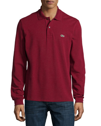 Long-Sleeve Classic Pique Polo, Dark Red