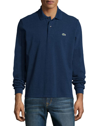Melange Long-Sleeve Pique Polo, Navy