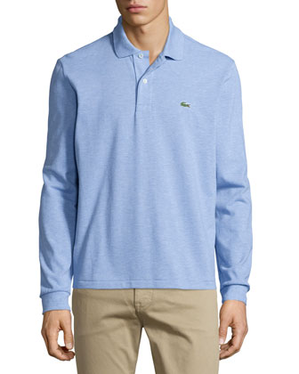 Long-Sleeve Classic Pique Polo, Light Blue