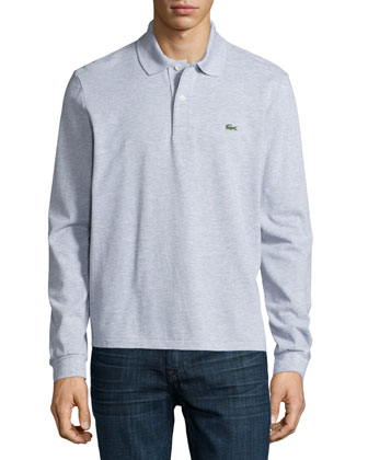 Long-Sleeve Classic Pique Polo, Gray