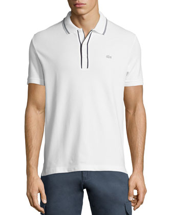 Fancy Short-Sleeve Pique Polo, White