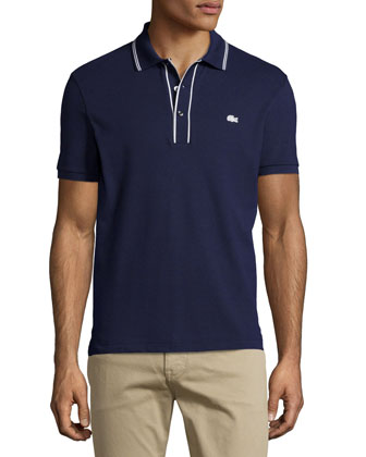 Short-Sleeve Fancy Pique Polo, Navy