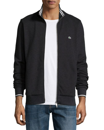 Full-Zip Tipped Track Jacket, Charcoal