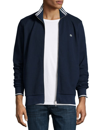Full-Zip Tipped Track Jacket, Navy