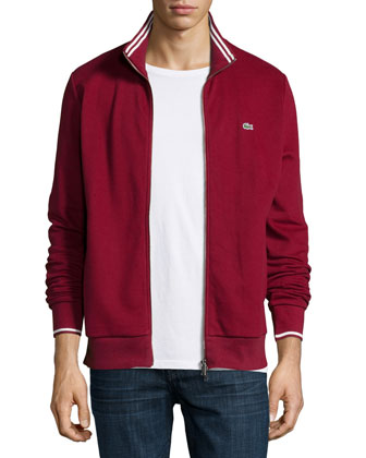 Full-Zip Tipped Track Jacket, Dark Red