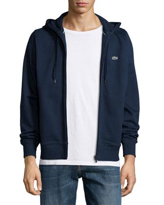 Full-Zip Fleece Hoodie, Navy