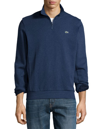 Half-Zip Melange Knit Sweatshirt, Navy