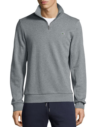 Half-Zip Knit Sweater, Gray