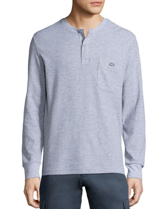 Waffle-Knit Long-Sleeves Henley Shirt, Gray