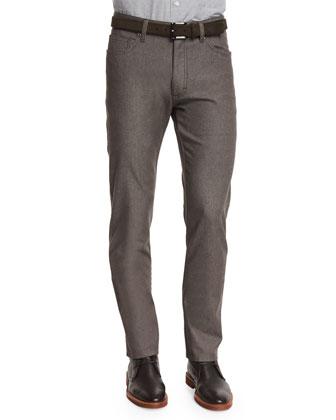 Slim-Fit Five-Pocket Stretch Denim Jeans, Beige
