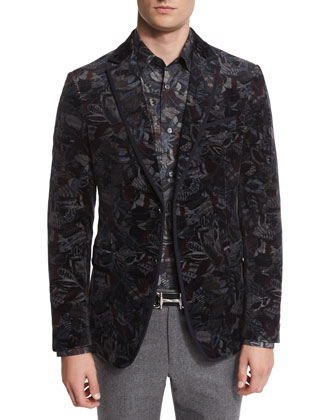 Feather-Print Velvet Evening Jacket, Navy