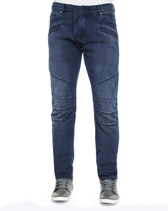 Five-Pocket Moto Denim Jeans, Blue
