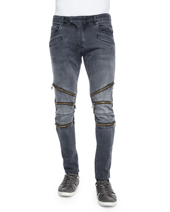 Washed Moto Jeans with Zipper-Detail, Black