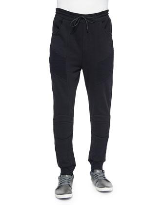 Drawstring Moto Sweatpants, Black