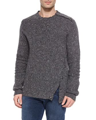 Asymmetrical Button-Side Crewneck Sweater, Gray