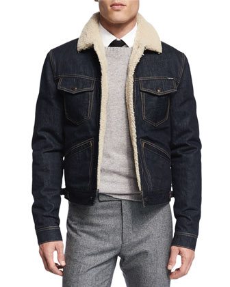 Denim Jacket with Shearling Fur Lining, Crewneck Long-Sleeve Wool Sweater, ...