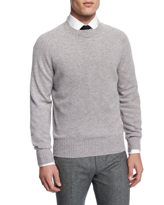 Crewneck Long-Sleeve Wool Sweater, Light Gray