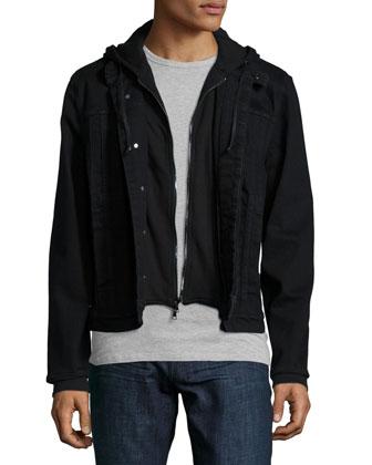 Denim Jacket with Fleece Insert, Black
