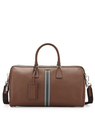 Striped Saffiano Duffle Bag, Brown/Green