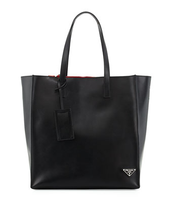 Soft Leather Tote Bag, Blue/Red