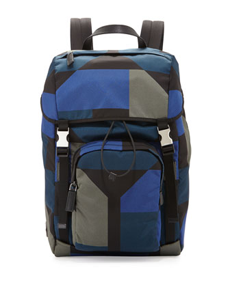 Men's Hexagon-Print Nylon Backpack, Blue