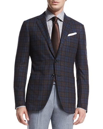 Trofeo Plaid Two-Button Jacket, Blue/Brown