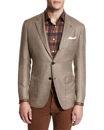 Houndstooth Two-Button Cashmere Jacket, Plaid Long-Sleeve Sport Shirt & ...