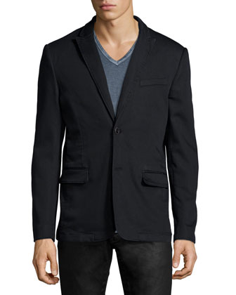 Two-Button Soft Jacket, Black