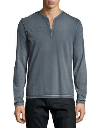 Long-Sleeve Snap-Button Henley Shirt, Gray