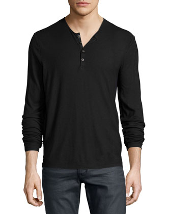 Long-Sleeve Button-Front Henley Tee, Purple