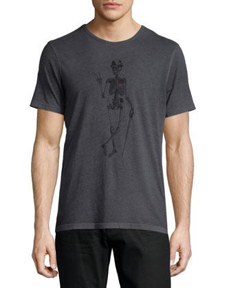 Skeleton-Graphic Short-Sleeve Tee, Black