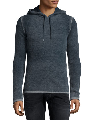 Reverse-Print Hooded Pullover Sweater, Gray