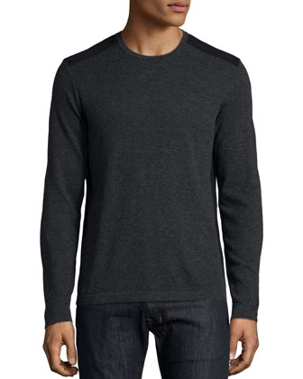 Wool Crewneck Sweater, Charcoal