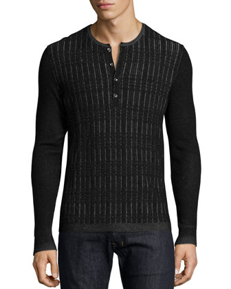 Grid-Stitched Long-Sleeve Henley Shirt, Black