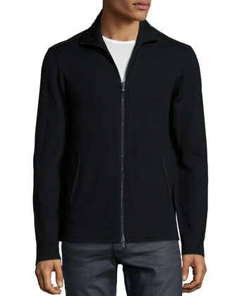 Full-Zip Knit Jacket with Faux-Leather Trim, Black