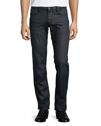 Bowery Coated Slim-Fit Jeans, Gray