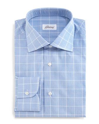 Large Windowpane & Glen Plaid Dress Shirt, Blue