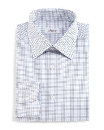 Box-Check Woven Dress Shirt, Navy