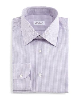 Micro-Check Woven Dress Shirt, Pink/Lavender