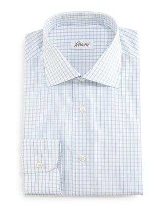 Grid-Box Check Dress Shirt, White/Blue