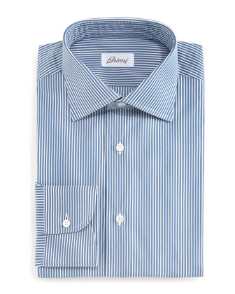 Bengal-Striped Woven Dress Shirt, Navy/White