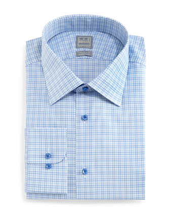 Check Woven Dress Shirt, Aqua