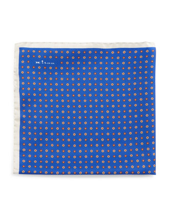 Micro Flower & Medallion-Print Pocket Square, Royal Blue