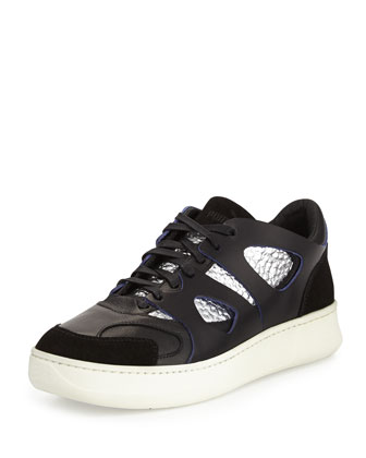 McQ Lo-Move Leather/Suede Sneaker, Black/Silver