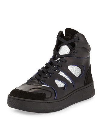 McQ Mid-Move High-Top Sneaker, Black/Silver