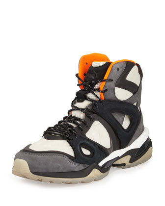 McQ Mid Run High-Top Sneaker, White/Orange/Black
