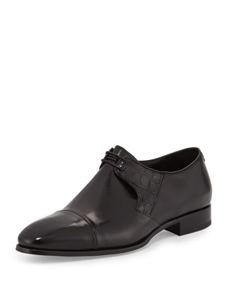 Cap-Toe Oxford with Crocodile Trim, Black