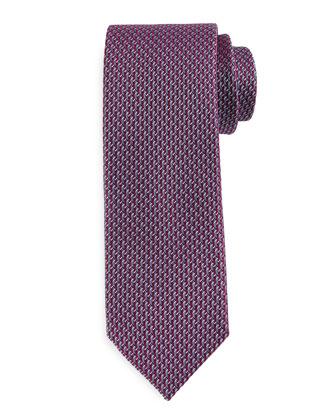 Textured Neat Silk Tie, Burgundy