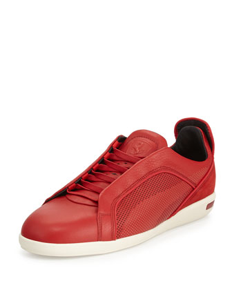 Ferrari Leather Low-Top Sneaker, Red